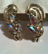 Vintage CORO Silver Tone Rhinestone Earrings Screw Clip On Aurora Borealis - $21.99