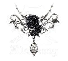 SteamPunk Victorian Alchemy Gothic Bacchanal Black Rose Necklace, NEW UN... - $72.55