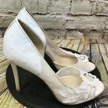 Betsy Johnson White Polka Dot Beaded Floral Peep Toe Stiletto Heels Size 7.5 - $37.01