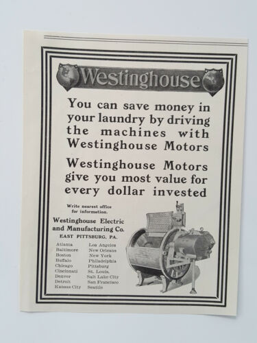 Primary image for 1911 Westinghouse Electric Machine Drive Motors Economical Vtg Magazine Print Ad