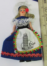 "Vintage 5"" Souvenir Folk Doll Of Pisa Italy Plastic Movable Arms Blond H... - $14.10"
