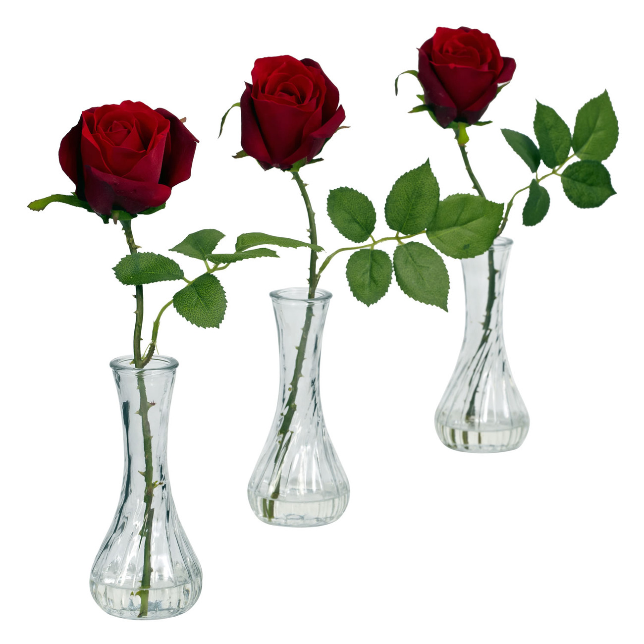 Nearly Natural Rose with Bud Vase (Set of 3) Artificial Flower Arrangement #1269