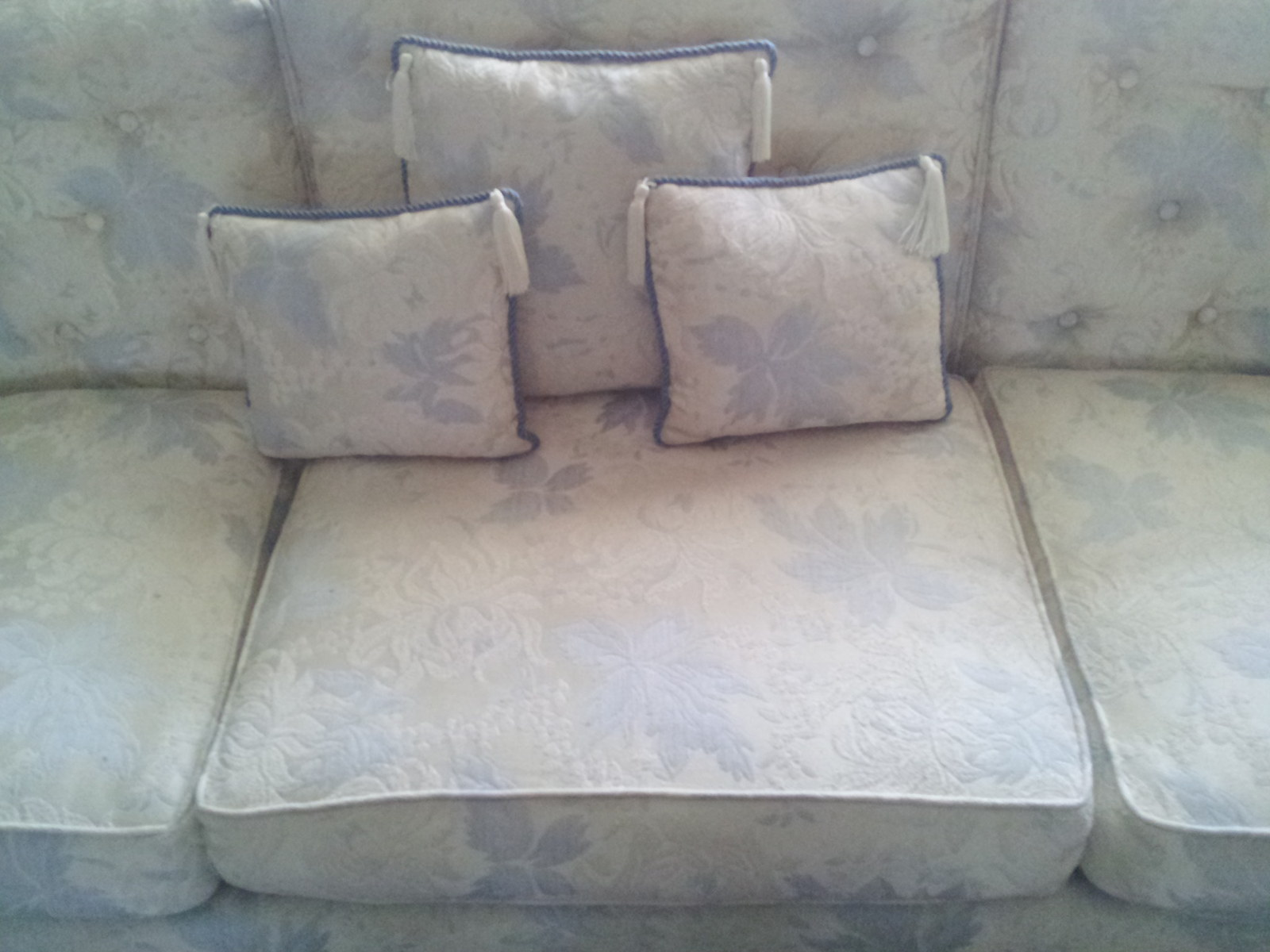 Pillows Cushions Set Of 3 Blue Throw Sofa Couch Brocade