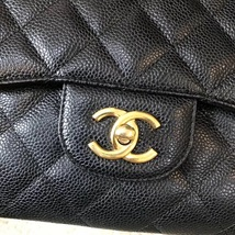 AUTHENTIC CHANEL BLACK CAVIAR QUILTED JUMBO DOUBLE FLAP BAG GHW image 3