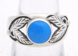 VTG .925 Sterling Silver Blue Stone Cabochon Leaf Berry Ring Size 6.5 - $49.50
