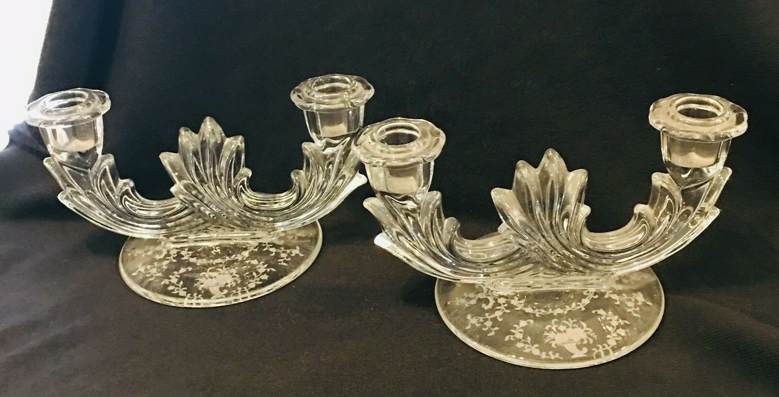 Primary image for Vintage Pair Fostoria Mayfair 2-Lite Candlesticks Etched Base Stunning
