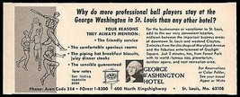 George Washington Hotel Ad St Louis Missouri 1964 Pro Sports Roadside Ad... - $10.99