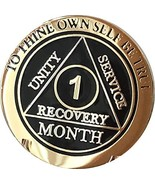 1 Month AA Medallion Elegant Black Gold and Silver Plated 30 Day Chip - $16.82