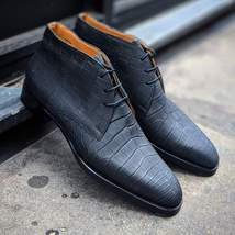 Handmade Men's Black Crocodile Texture High Ankle Lace Up Chukka Leather Boots image 3