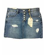 Vanilla Star Juniors Button-Fly Blue Ripped Denim Mini Skirt Size 1, 3, ... - $14.99