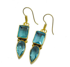 exquisite blue topaz cz Gold Plated Blue Earring Natural indian US gift - $14.84