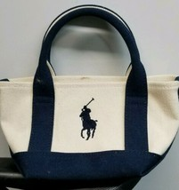Ralph lauren Mini Canvas Tote Bag Cream Navy fast ship NWOT - $46.19