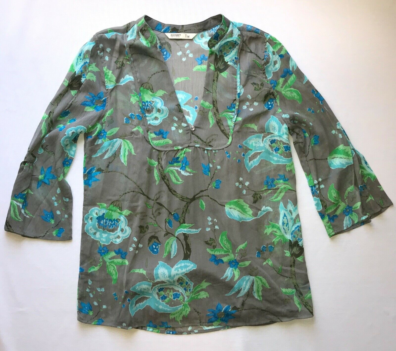 Primary image for Floral Print Blouse w/ 3/4 Sleeves and open V Neck by Old Navy in M