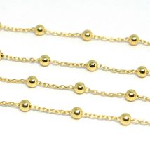 18K YELLOW GOLD BALLS CHAIN 2 MM, 35 INCHES LONG, SPHERE ALTERNATE OVAL ROLO image 3