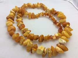 "VTG Baltic Russian natural raw genuine Amber nugget 26"" strand  56 g necklace - $149.69"