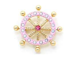 Pink Crystal Enamel Bubble Helm Pin Brooch - $13.95