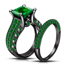 Princess Cut Green Sapphire Womens Wedding Bridal Ring Set 925 Sterling Silver - $108.99