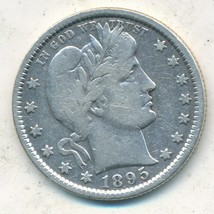 1895 BARBER SILVER QUARTER-NICE CIRCULATED BARBER QUARTER-SHIPS FREE!  - $32.95