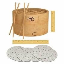 DEALZNDEALZ 3-Piece Bamboo Steamer Basket with Lid 08-inch 2-Tier 50 Per... - $34.34