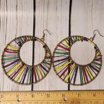 vintage large colorful beaded hoop earrings oversize round - $14.84