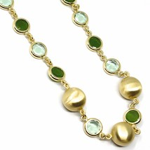 925 STERLING SILVER YELLOW NECKLACE SATIN NUGGETS ALTERNATE GREEN GLASS PASTE image 2