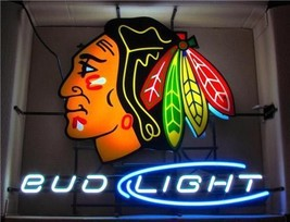 "New Bud Light Chicago Blackhawks Hockey Neon Sign 24""x20"" - $194.00"