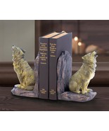 HOWLING WOLF BOOKENDS Rustic Americana Wolves Wildlife Animals Home Decor - $24.95