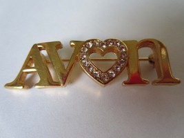 Vintage Avon Representative Rhinestone Heart Gold-toned Brooch Pin - $9.99