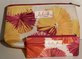 Lot of 2 LuLu DK for Clinique Cosmetic Multi Color Travel Bags Yellow Pink - $12.99