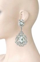"3.5"" Long Victorian Inspired Iridescent Clear Crystal Evening Clip On Ea... - $20.90"