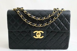 CHANEL XL Jumbo Vintage Maxi Black LAMBSKIN Flap Bag 24K GHW AUTHENTICATED! - $3,418.24