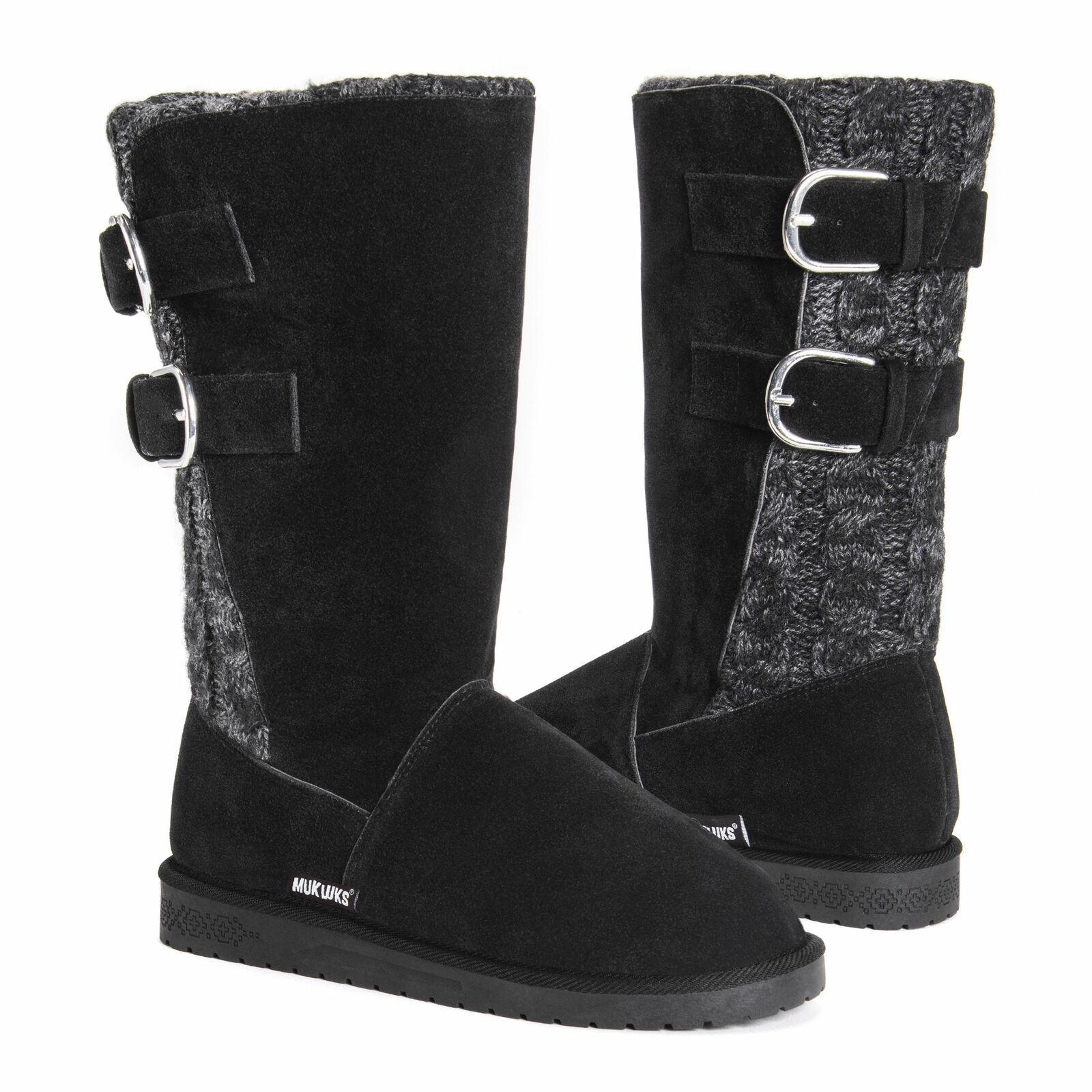Muk Luks Women's Jean Boot Size 6 Black/Grey - $44.99