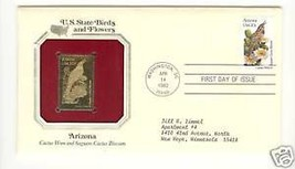 ARIZONA GOLD PLATED STAMP WITH FIRST DAY ISSUE STAMP - $5.93