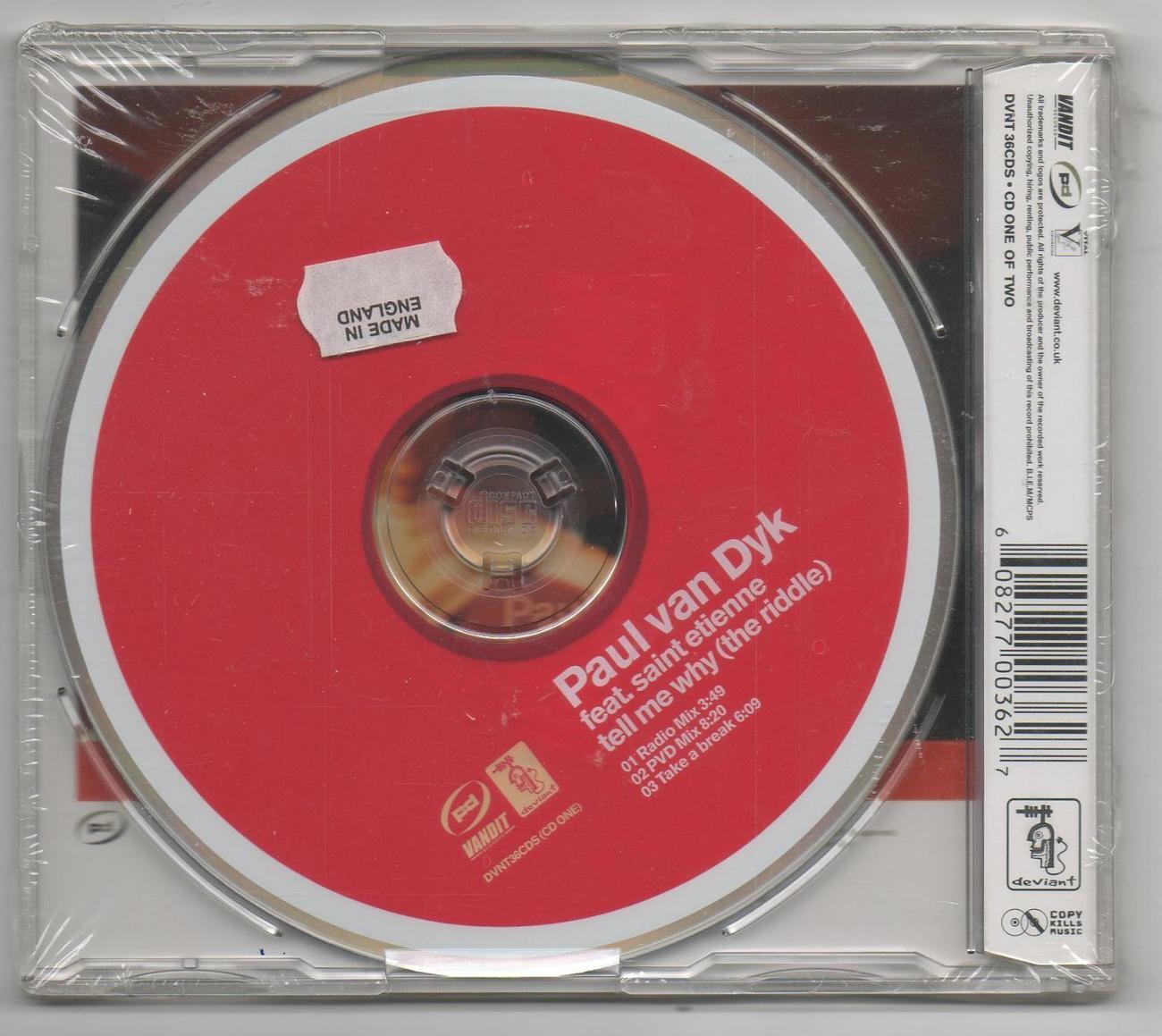 Paul Van Dyk Ft. Saint Etienne Tell Me Why The Riddle CD 3 Track Remixes Vandit