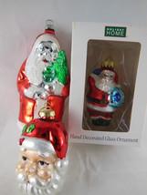 "Glass Santa Claus Christmas Ornaments 3-5"" Lot of 3 - $7.71"