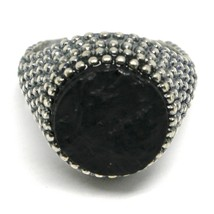 MEN'S RING 925 SILVER, BURNISHED AND FLECKED, ONYX ROUGH, SIZE ADJUSTABLE image 2