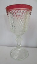 "Vintage Indiana Glass Diamond Point Tall Ruby Flash Footed Urn Vase 11"" tall - $25.00"