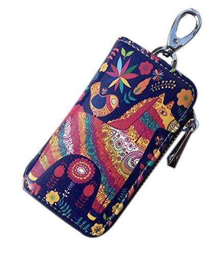 Cartoon Women's Key Bag Printing Graffiti Leather Zipper Key Case, Horse