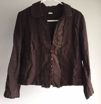 J.Crew Brown Linen Jacket Size 8 Long Sleeve button down lined pockets blazer - $15.25