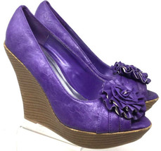 Purple Wedge Charlotte Russe Us Flower Shoes Women's Size Peep Decor Heel Toe 7 gfS6UgY