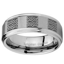 8mm Multiple Celtic Step Edges Brushed Tungsten Carbide Mens Ring Engraved - $39.99