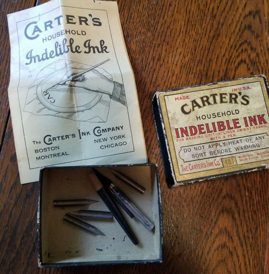 Vintage 1920s Carter Household Indelible Ink Box
