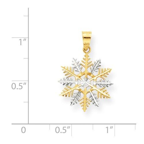 10K Two Tone Gold Snowflake Charm