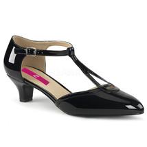 "PLEASER 2"" High Kitten Heel T-Strap Pump Black Patent Women's Shoes FAB4... - $48.95"
