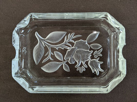 Vintage Mid Century Etched Glass Ashtray Jewelry or Trinket Dish MCM Fem... - $15.00