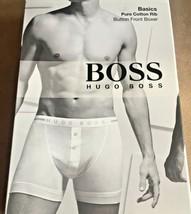 Hugo Boss Basics Small Pure Cotton Rib Button Front Boxer Dark Grey NIB - $10.98