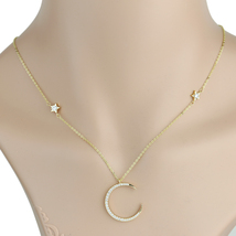 UE-Gold Tone & Swarovski Style Crystal Designer Moon And Stars Pendant N... - $17.99