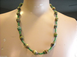 Handcrafted Multicolored and Green Rolled Paper Beaded Necklace by Kenyan Artist