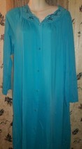 Womens  SHADOWLINE Nylon Turquoise Nightgown Robe  w/Embroidered Flower... - $17.81