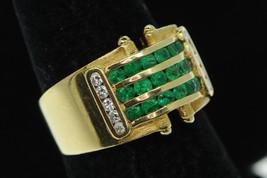 Art Nouveau Style 18K Yellow Gold Wide Emerald and Diamond Band Ring (Sz... - $650.00